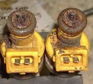 Загрязненные форсунки инжекторного двигателя