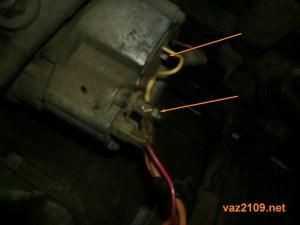 Отсоединяем провода от генератора Ваз 2109