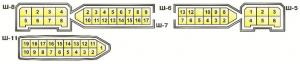 Штекера монтажного блока 17.3722 Ваз 2108, Ваз 2109, Ваз 21099